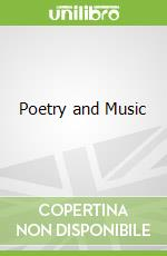 Poetry and Music libro in lingua di Hollander John