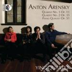 Quartetto n.1 op.11, quartetto n.2 op.35 cd musicale di Arensky anton stepa