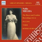 The hayes and london recordings 1921-192 cd musicale di Nellie Melba