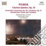 Weber Carl Maria Von - Quintetto X Clar Op.34, Gran Duo Op.48,introduzione, Tema E Variazioni Op.post. cd musicale di Weber carl maria von