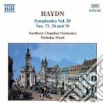 Sinfonia n.77, n.78, n.79 (vol.20) cd musicale di Haydn franz joseph