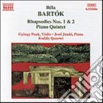Quintetto, rapsodie n.1 e n.2, andante cd musicale di Bela Bartok