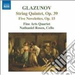 Quintetto op.39, novellette op.15 cd musicale di Glazunov alexander k