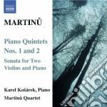 Quintetto con pianoforte n.1 h 229, n.2 cd musicale di Bohuslav Martinu