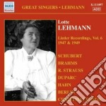 Lieder recordings, vol. 6 (1947, 1949) cd musicale di Lotte Lehmann