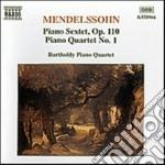 Mendelssohn Felix - Quartetto X Pf N.1 Op.1, Sestetto X Vl,2 Vla, Vlc, Cb E Pf Op.110 cd musicale di Felix Mendelssohn