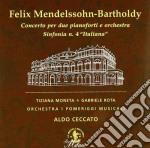 Mendelssohn Felix - Concerto Per Due Pianoforti E Orchestra,sinfonia N.4 Italiana cd musicale di Felix Mendelssohn