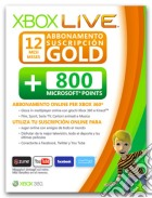 MICROSOFT X360 Live 12M Gold Card+800Pts game acc