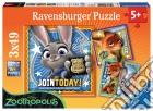Ravensburger 09404 - Puzzle 3x49 Pz - Zootropolis - Arrestati!