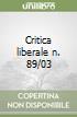 Critica liberale n. 89/03 libro