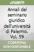 Annali del seminario giuridico dell'università di Palermo. Vol. 59 libro