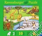 Baby puzzle in legno 10 pz sagomati - animali dello zoo puzzle