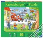 Baby puzzle in legno 10 pz sagomati - pompieri in azione