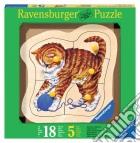 Baby puzzle in legno 5 pz - gattino giocherellone puzzle