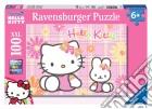 Puzzle super 100 pz - hky hello kitty e il coniglietto puzzle