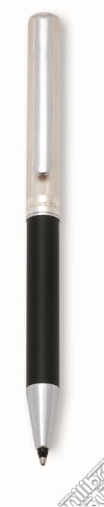 Penna a sfera shorty in epoxy nero, fin. cromate. cappuccio argento. articolo per la scrittura di aurora